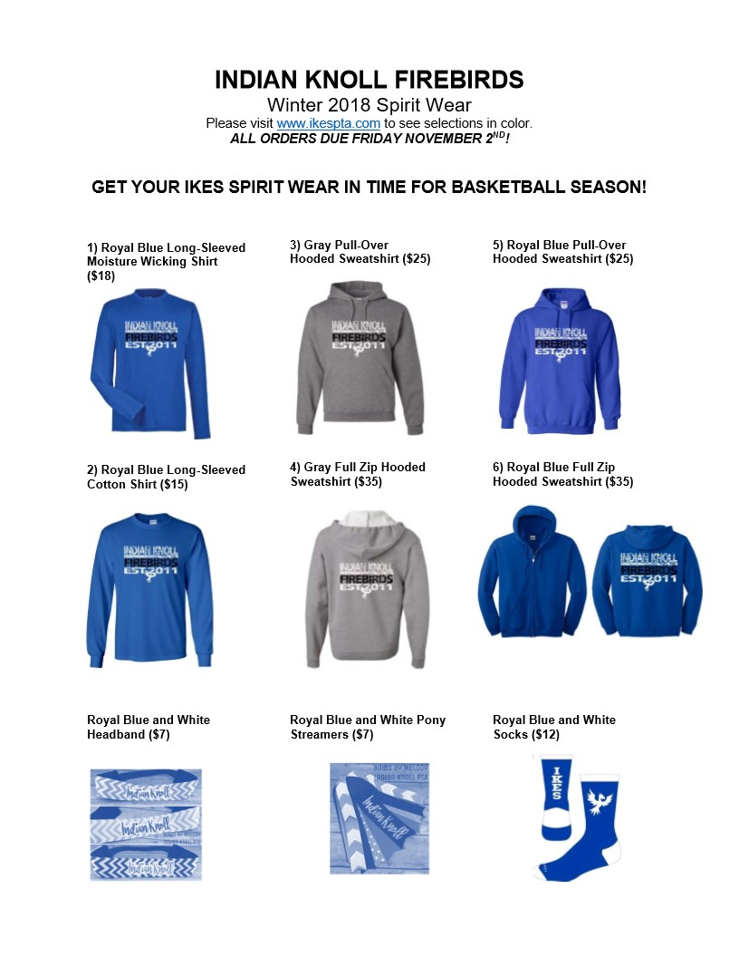 33cbb77e Note: We have some remaining inventory from our Fall 2018 Spirit Wear  drive. Sizes for this fall spirit wear are limited; please contact Lorrie  Campbell at ...